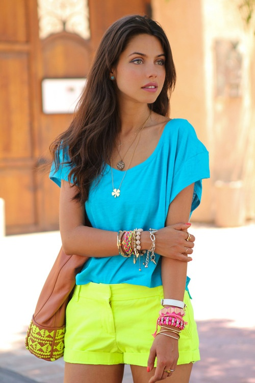 Bright neons <3: Neon Shorts, Colors Combos, Dreams Closet, Neons 3, Summer Outfits, Blue Yellow, Colors Blue, Neon Colors, Bright Colors