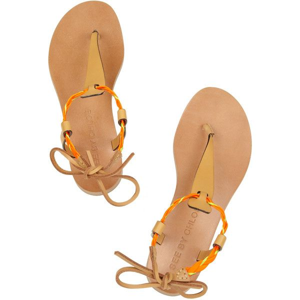 See by Chloé Raffia-trimmed leather sandals ($118) ❤ liked on Polyvore featuring shoes, sandals, see by chloé, обувь, braided leather sandals, leather sandals, neon sandals, leather flats and ankle strap flats