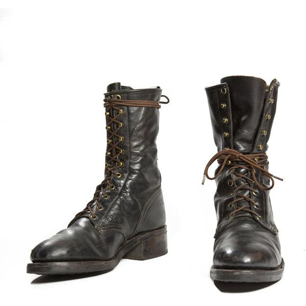 Vintage Lacer Boot by Texas Boot Black Steel Toe Combat Boot Style... ($120) ❤ liked on Polyvore featuring men's fashion, men's shoes, men's boots, boots, shoes and mens clothes
