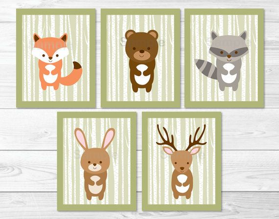 Woodland Forest Animal Birch Tree Nursery von LittlePrintsParties