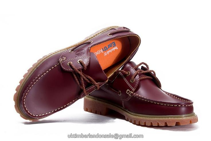 UK Timberland Women Icon 2-Eye Boat Lug Shoes Burgundy £ 69.59