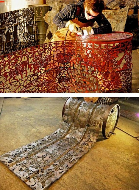 Cal Lane-amazingly beautiful work... This Canadian sculptor, makes of lace all kinds of metal items such as wheelbarrows, cans, shovels, etc and everything to blow torch.