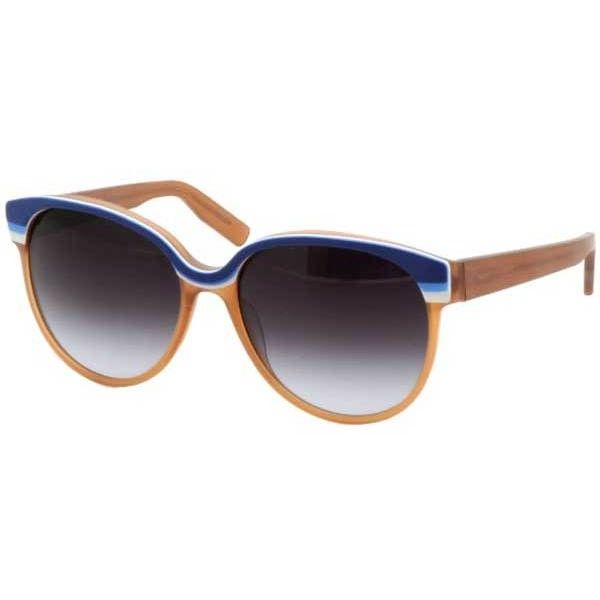 Italia Independent II 0049 022/000 Sunglasses (€235) ❤ liked on Polyvore featuring accessories, eyewear, sunglasses, blue dark orange, italia independent glasses, italia independent sunglasses, blue sunglasses, blue lens sunglasses and oval glasses