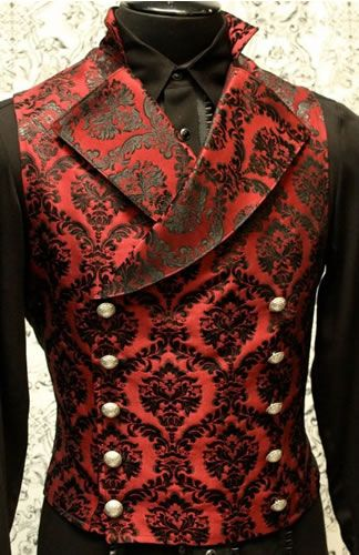 CAVALIER VEST - RED/BLACK BROCADE An elegant double breasted vest for formal occasions.  A fitted vest made in rich red and black brocade fabric with a stand up to collar and wide sweeping lapels. #goth #gothic #punk #punkrock #rockabilly #psychobilly #pinup #inked #alternative #alternativefashion #fashion #altstyle #altfashion #clothing #clothes #vintage #noir #infectiousthreads #horrorpunk #horror #steampunk #zombies #burningman #tattoos #shrine