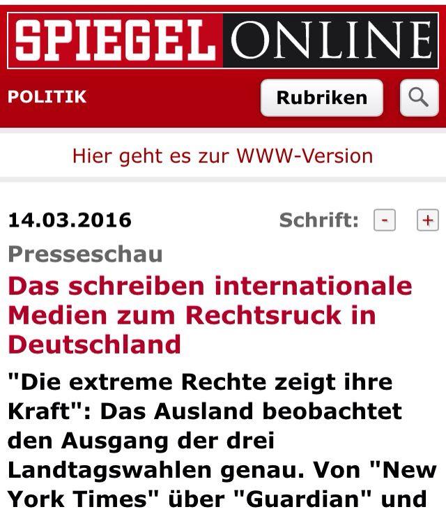 Reaktionen des Auslandes auf den Rechtdruck bei den Wahlen am 13.03.2016 in Sachsen-Anhalt, Baden-Württemberg und Rheinland-Pfalz.