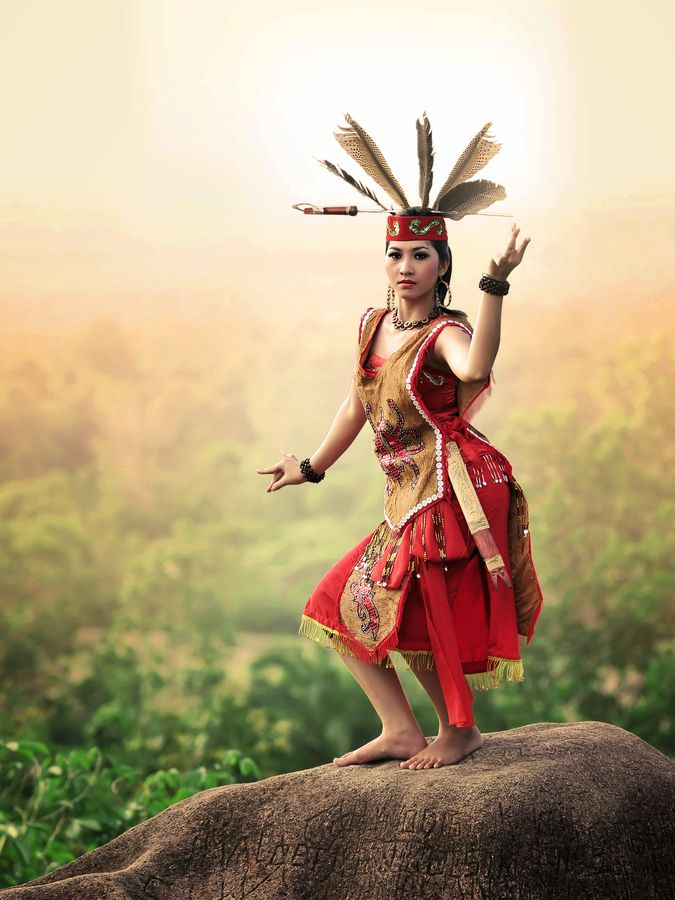 the princess of dayak - traditional dance, Borneo