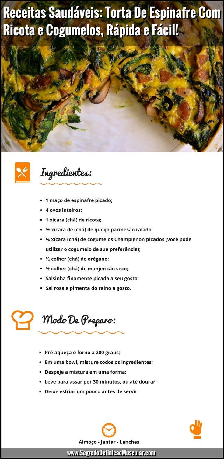 Receitas Saudáveis Torta De Espinafre Com Ricota e Cogumelos