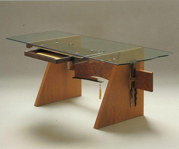 Garry Knox Bennett, Desk With Dangles, Honduras Mahogany, Honduras  Rosewood, Acacia,