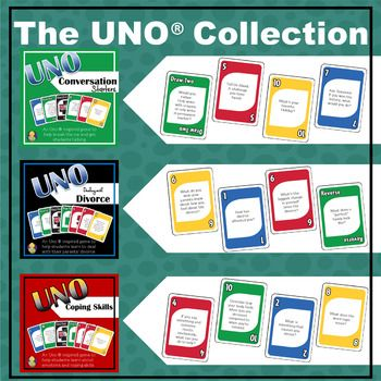 The (Uno  inspired) Card Game Bundle  is 3 Uno  inspired games that your students will love playing!  Included is the Coping Skills Uno game, Conversation Starters Uno, and Dealing with Divorce Uno. As students play, they are asked to either ask or answer questions that will help students get to know one another and facilitate conversations, as well as learn critical thinking skills.Each Deck Contains:    114 Game Cards    DirectionsConversation Starters UnoThere are 104 questions and each…