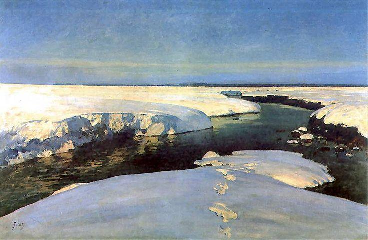 Winter Landscape (Krajobraz zimowy z rzeką)  1907