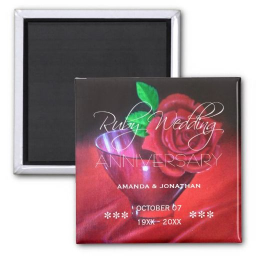 40th Ruby Wedding Anniversary Red Rose 2 Inch Square Magnet