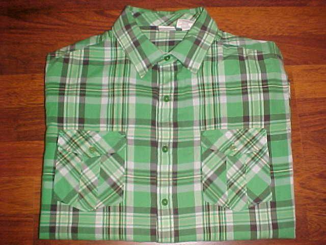 Hang Ten Green Plaid Men's Short Sleeve Long Tail Two Button Pocket Shirt L #HangTen #ButtonFront