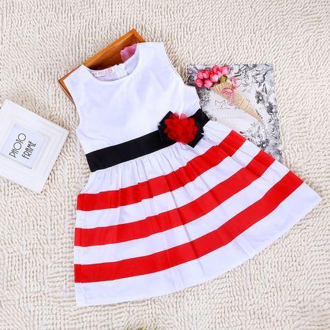 Sleeveless Striped Dress in Red – Poppatosh