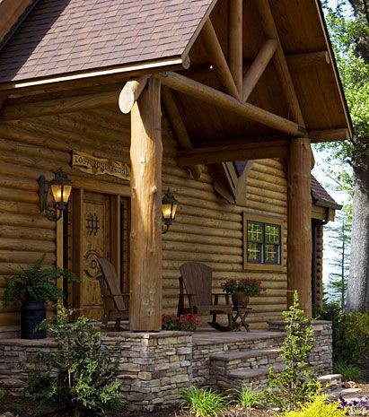 17 best images about log cabins on pinterest old cabins for Log home porches