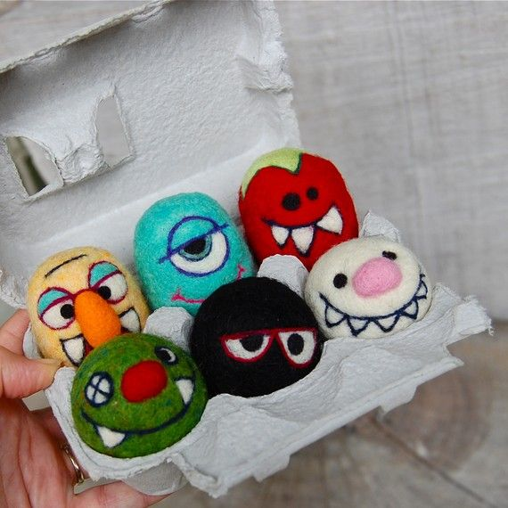 needle felted monsters - egg competition idea