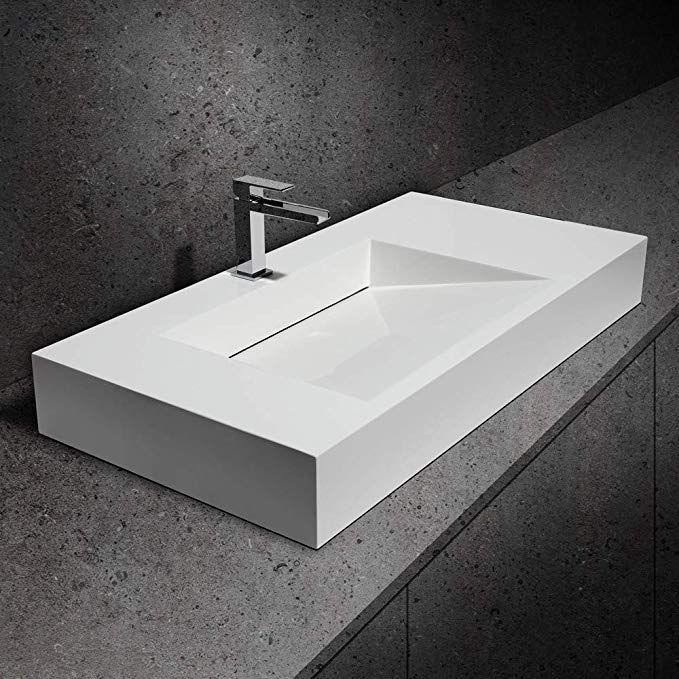 Weibath Modern Wall Hung Stone Resin Rectangle Bathroom Ramped Sink Wall Mount Sinks Glossy White Amazon Co In 2020 Modern Bathroom Sink Modern Wall Hanging Sink