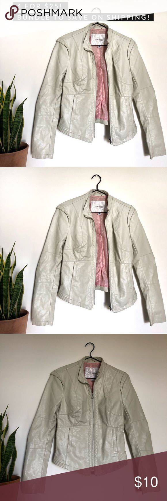 maurices Off white faux leather zip up jacket Jackets
