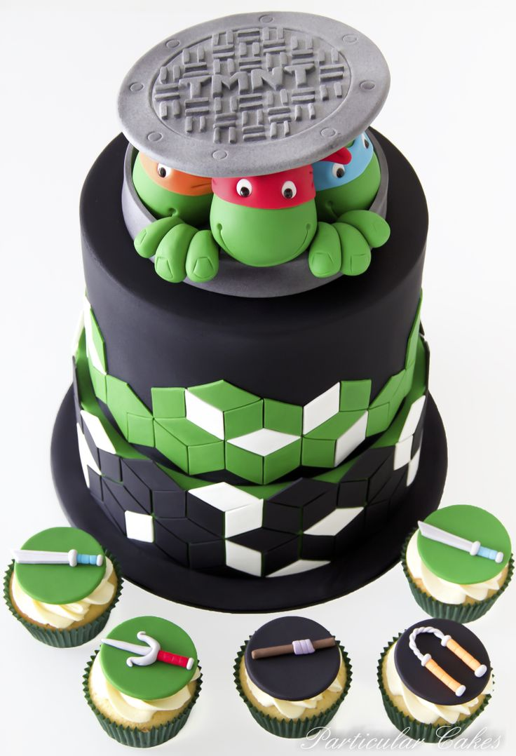http://www.pinterest.com/goldilocks77/cake-decorating/  TMNT turle cake and cupcakes