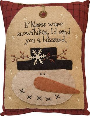 Pillow   Snowman Kisses Blizzard   Primitive Country Rustic Winter Christmas  Embroidered Seasonal Decor: Home U0026 Kitchen