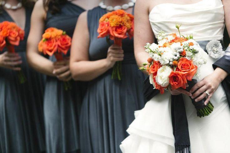 orange dahlia grey wedding