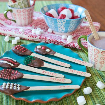 Hot chocolate spoons - Note that the ends are STAMPED with words!