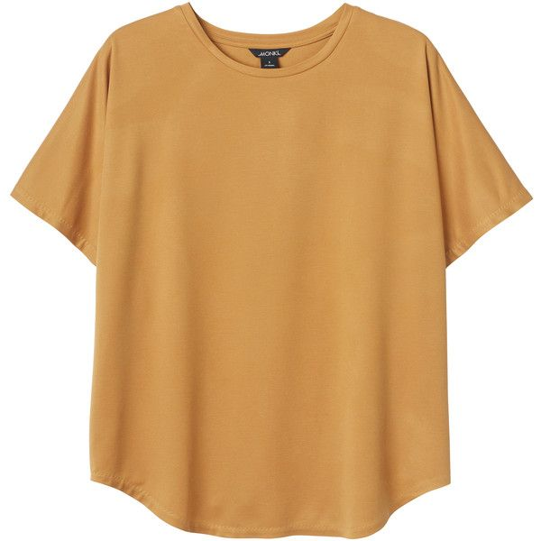 Monki Jenny top ($28) ❤ liked on Polyvore featuring tops, t-shirts, shirts, yellow earth, beige t shirt, peach t shirt, yellow shirt, bohemian style shirts and yellow top