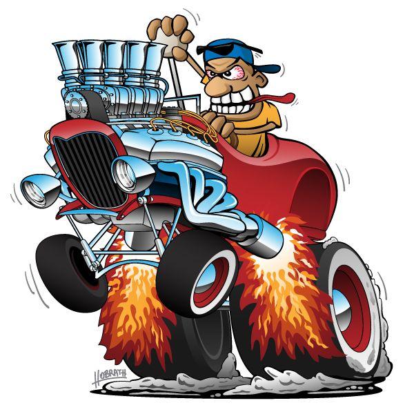 Highboy Hot Rod Race Car Cartoon Vector Illustration In 2020 Car Cartoon Santa Art Cartoon