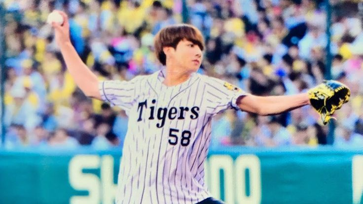 BTS Jungkook Throw the First Pitch at Hanshin Tigers Baseball Game