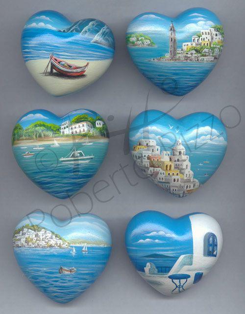 Sassi dipinti di Roberto Rizzo - Paesaggi e varie. First home place reminder