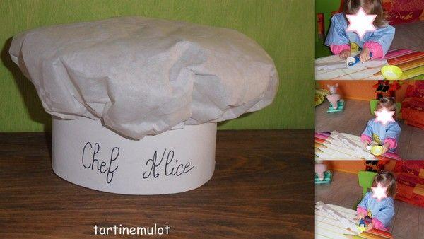 notre chef Alice se prépare pour être bien équipé pour cuisiner pour réalisé cette toque il faut: - une cercle de 45cm de diamètre couper dans de la nappe en papier - un carton d'environ 50 cm sur ...