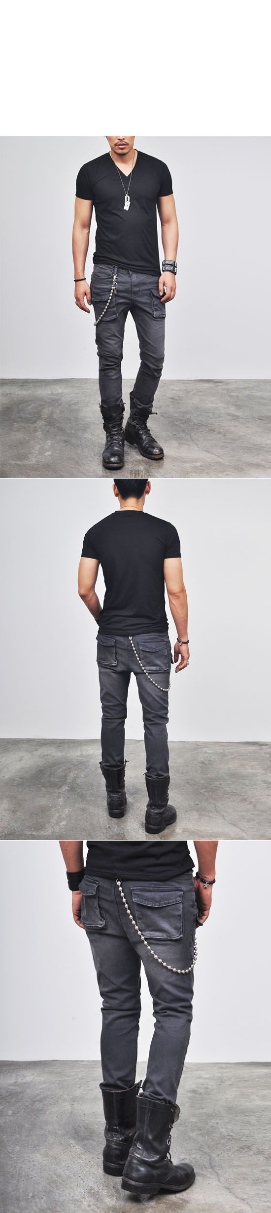Bottoms :: Vintage Oil Washed Slim Cargo (4Size)-Pants 40 - Mens Fashion Clothing For An Attractive Guy Look