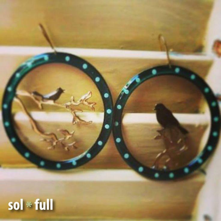 Handmade - Handpainted earrings with sterling silver earhooks.