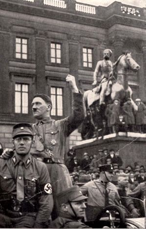 Braunschweig, 1931, Germany, Hitler speaking in the street. (This is literally my mall...)