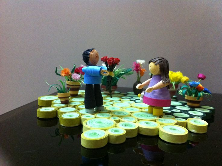 3D quilling of a boy proposing to a girl. 1st 3D quilling