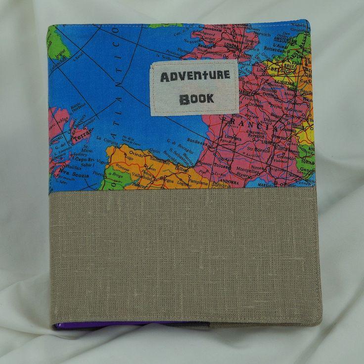 Notebook fabric cover handmade, gift, travel the world di Filoagoefantasia su Etsy