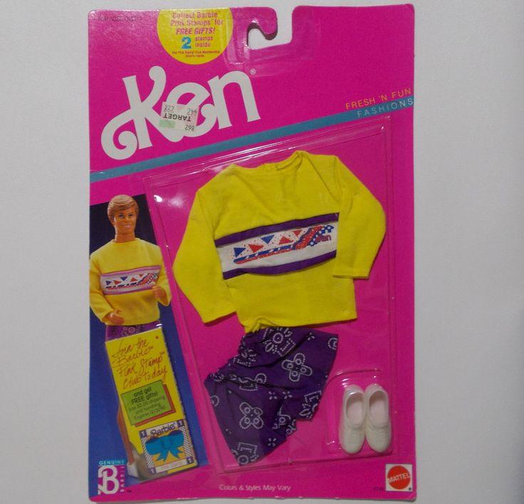 Barbie Fresh N Fun Ken Fashion Yellow Shirt Purple Shorts Outfit Tennis Shoes 1989 NRFB Sealed by TntbrbefanDolls on Etsy