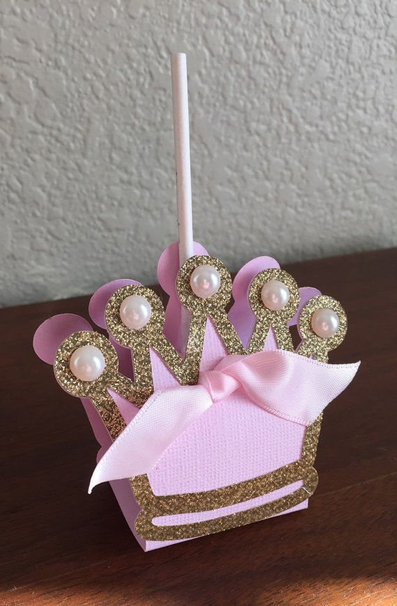 princess theme pink and gold crown lollipop favor covers