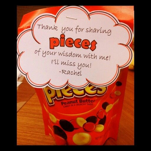 Reese's pieces farewell gift; 'pieces' font: Berlin Sans FB