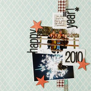 happy new year layout: rotate layout for horizontal pics. vertical strips of patterned paper accent 2 stacked photos, sticker letters and punched stars around pics highlight colors