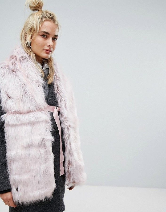 Urban Code Urbancode Faux Fur Pink Scarf with Ring Fastening