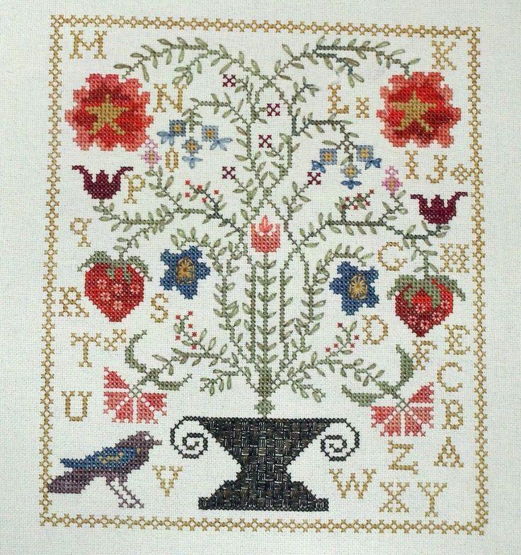 Strawberry garden blackbird designs cross stitch completed for Blackbird designs tending the garden