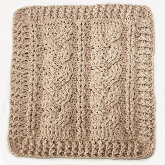 Looks like knit cables...but it's crochet!  3 Cable Sampler Dishcloths pattern by Kim Miller.