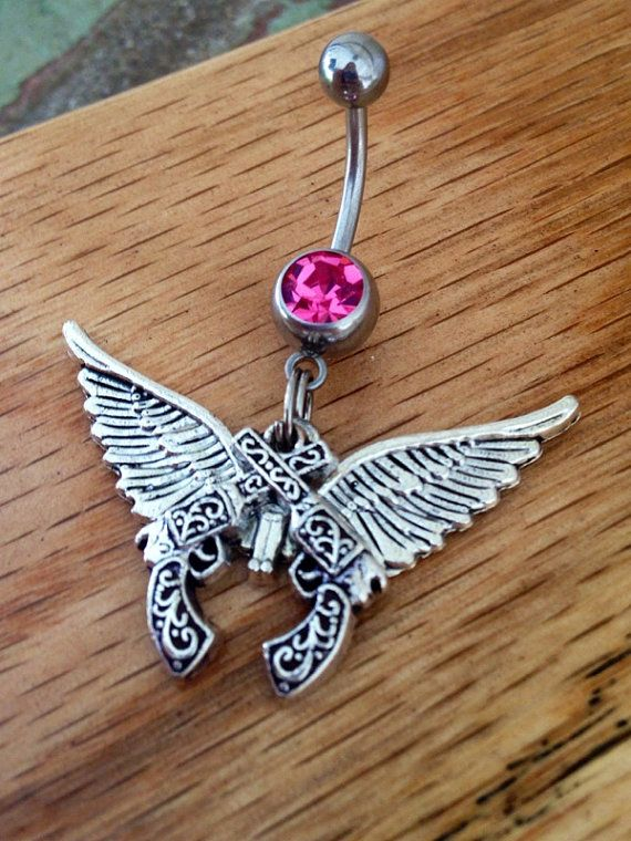 Gun Belly Ring Crossed Pistols Angel Wings by CountryOutlawDesigns