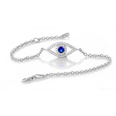 Pırlanta Modeli Mavi Safir Taşlı Gümüş Bileklik