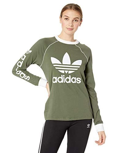 4fa260f1a adidas Originals Women's Originals Linear Logo Longsleeve Shirt, Base  Green, L at Amazon Women's Clothing store: