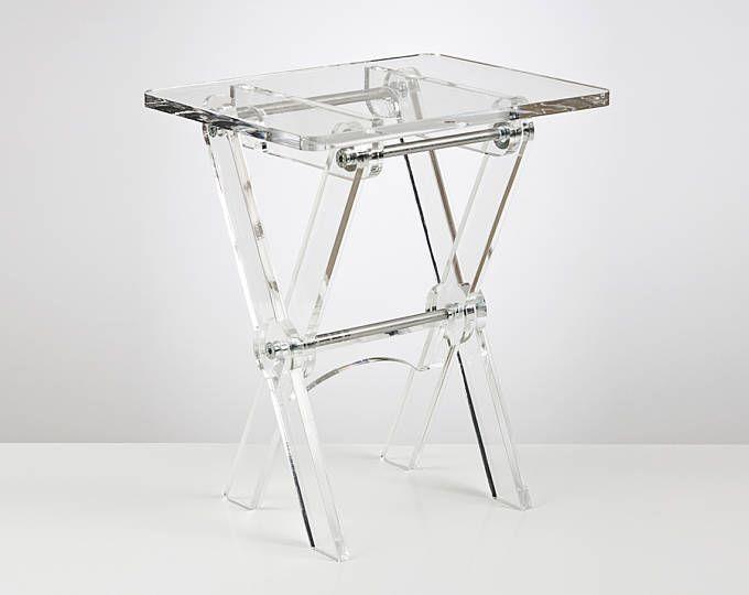 Mesa de centro plegable de acrílico   Ahorro mesa de espacio   Mesa portátil de plexiglás   Acrílico de Perspex Premium   Fabricado en el Reino Unido