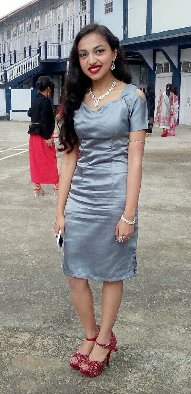 Grey short sleeve prom dress