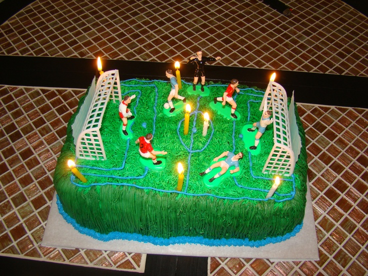 Cake Decorating Ideas For Soccer : Soccer field cake out of buttercream icing with soccer ...