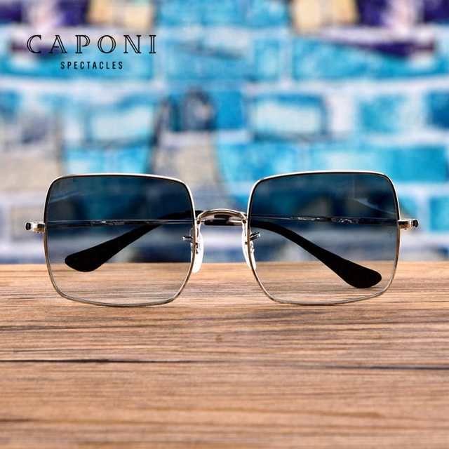 Caponi الاستقطاب النظارات الشمسية مربع النساء 2020 جديد ماركة تصميم رجل نظارات شمسية إطار معدني عدسة ملونة ظلال Uv40 Square Sunglasses Women Sunglasses Glasses