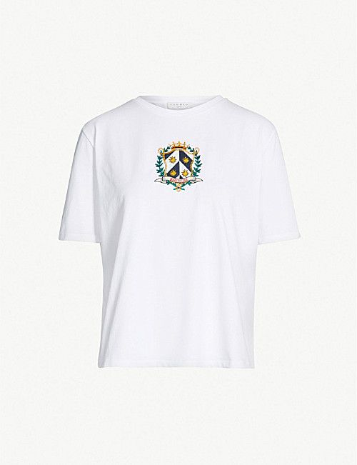 fa0cb32d9a0 SANDRO Elliot embroidered crest cotton T-shirt | T - Shirts in 2019 | Mens  tops, T shirt vest, Clothes for women